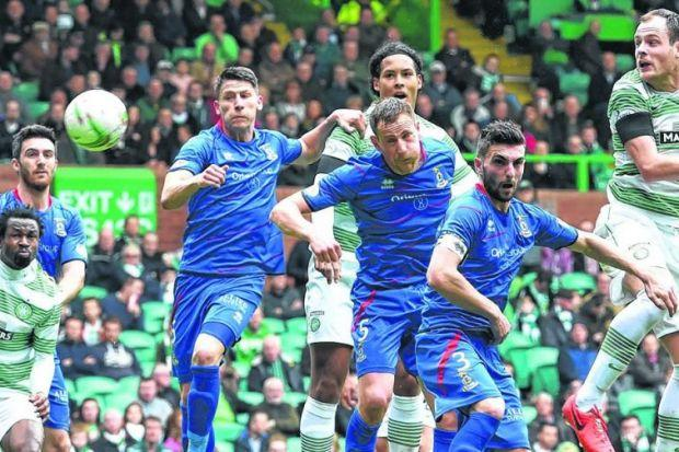 Celtic striker Anthony Stokes heads his side into the lead, from a Leigh Griffiths corner, before adding two more goals to his day's tally against Inverness Caledonian Thistle. Picture: SNS