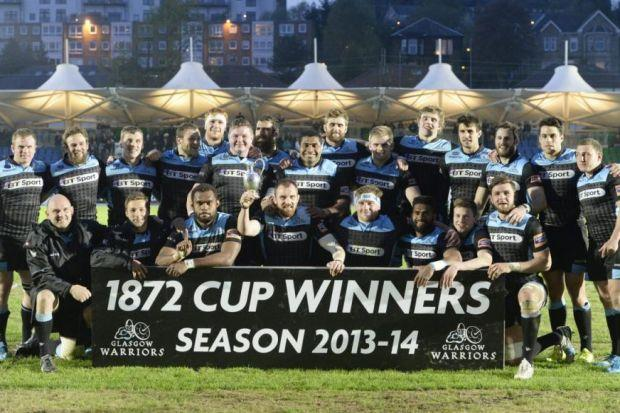 Glasgow Warriors celebrate winning the 1872 Cup