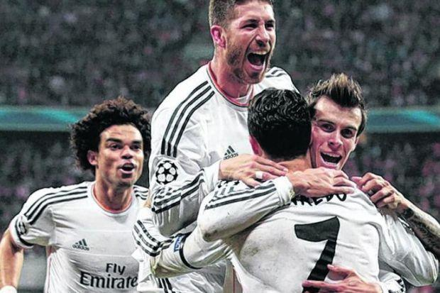 Real Madrid players celebrate after Ronaldo scores. Picture: Getty Sport
