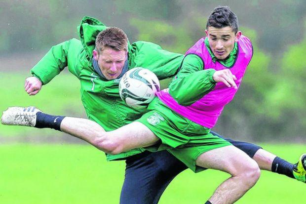 Paul Cairney, left, and Alex Harris compete at training yesterday. Picture: Alan Rennie/SNS