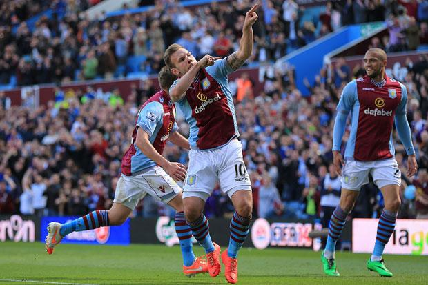 Aston Villa's Andreas Weimann celebrates scoring his side's third goal during the Barclays Premier League match at Villa Park