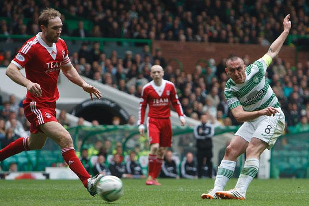Celtic's Scott Brown scoring the second goal against Aberdeen during the Scottish Premiership match at Celtic Park