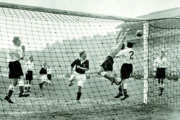 Scotland's Willie Bauld goes close against England in the 1950 match between the ancient rivals, which was watched by a mere 134,000 at HampdenPhotograph: PA