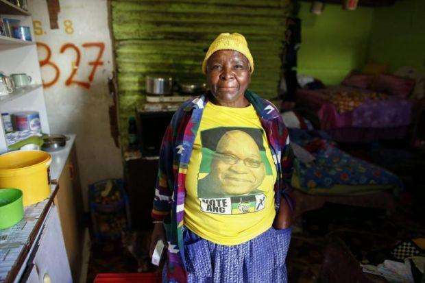Despite more than 20 years living in a shack while the government has promised to deal with the housing crisis, 74-year-old Albertina Faye retains her support for the ANCPhotograph: EPA/Nic Bothma