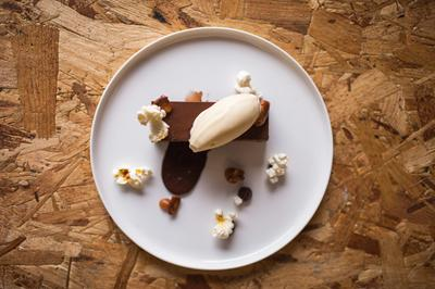 Dark chocolate cremeux, salted popcorn, peanuts, banana ice cream. Image: Christopher Currie Photography