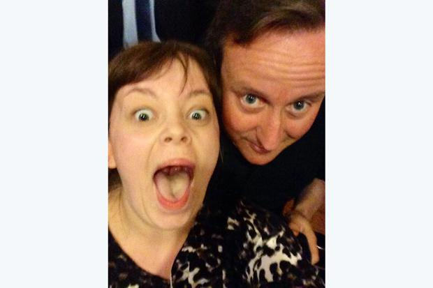 Prime Minister David Cameron posing for a selfie with Becky Smith in Nandos, Park Street, Bristol last night during a visit to the city.