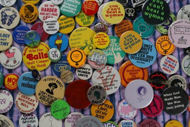 The badges on show at Glasgow Women's Library provoke, amuse and empower. Photograph: Colin Mearns