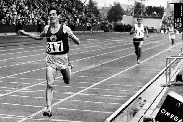 Scotland's Lachie Stewart crosses the line first to win gold in the 10,000 metres at the 1970 Commonwealth Games in Edinburgh, leaving Australia's Ron Clarke and other world-class rivals trailing in his wake.