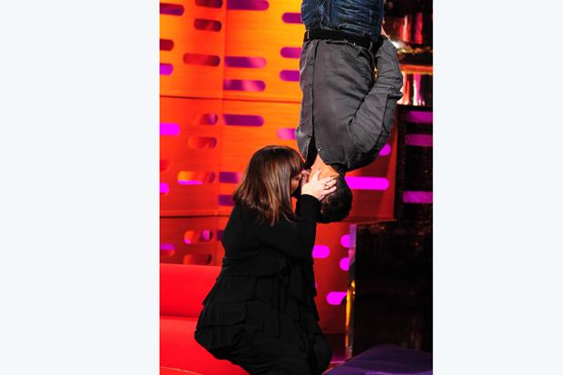 Bear Grylls and Dawn French recreate Spiderman kiss