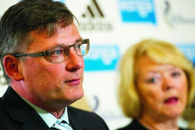Craig Levein talks about his plans watched by Ann Budge