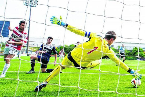 Tony Andreu's shot after a quarter of an hour evades Falkirk goalkeeper Michael McGovern. Picture: SNS