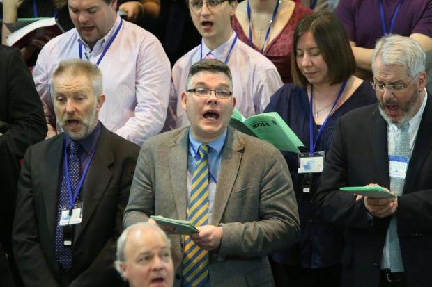 Reverend Scott Rennie, centre, at the General Assembly of the Church of Scotland in Edinburgh. Picture: Gordon Terris