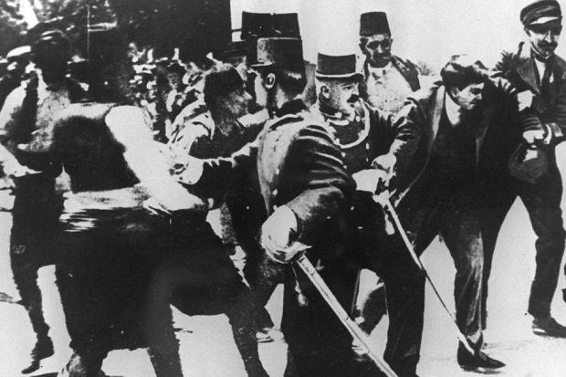 The assassination of Franz Ferdinand in 1914 (left) and the killer Gavrilo Princip (above)