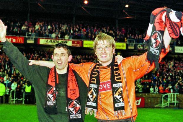 Brian Welsh, right, and Owen Coyle were Dundee United's scorers when they won promotion back to the top flight in a play-off against Partick Thistle in 1996 	        Photograph: SNS