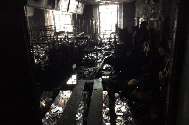 Charred remains of the interior could be seen yesterdayPhotograph: Stewart Attwood
