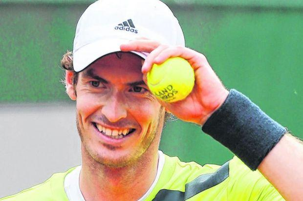 Andy Murray in relaxed mood during his four-set victory over Andrey Golubev yesterday. Picture: AP