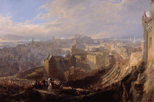 Far left: Wilson Ewbank's Entry Of George IV Into EdinburghLeft: Adam Bruce Thomson's North Bridge And Salisbury Crags, Edinburgh, From North West