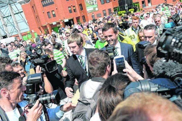 Ronny Deila appeared entirely at ease in front of a formidable media gathering and hundreds of Celtic fans at Celtic Park yesterday. Picture: Nick Ponty