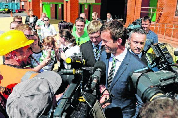 One-Norse town: Ronny Deila is mobbed by supporters and the media at Parkhead yesterday, as he makes his first appearance as Celtic manager. Picture: Nick Ponty