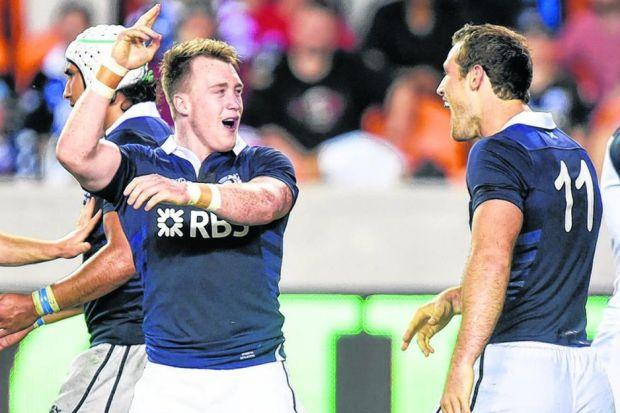 Stuart Hogg celebrates scoring his solo try with team-mate  Tim Visser during Scotland's 24-6 victory ove USA. Picture: SNS