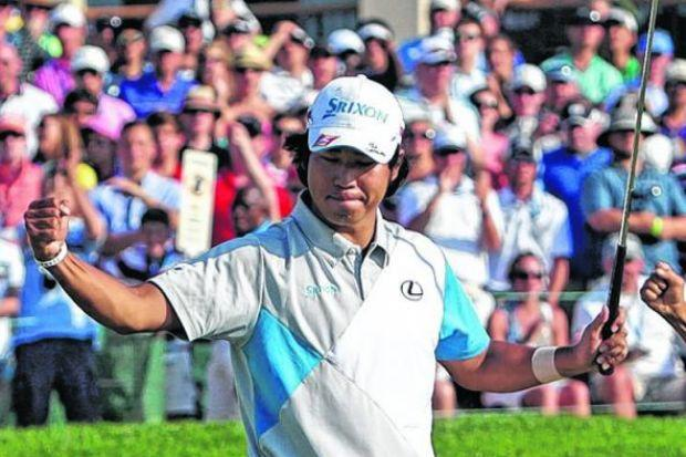 Hideki Matsuyama  celebrates after winning the Memorial Tournament in a play-off.