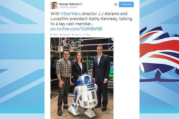 Screen grab taken from the Twitter feed of Chancellor George Osborne showing Mr Osborne (right) with Star Wars director J.J Abrams and Lucasfilm president Kathy Kennedy, after the Chancellor hailed the news that another Star Wars film is to be shot in Bri