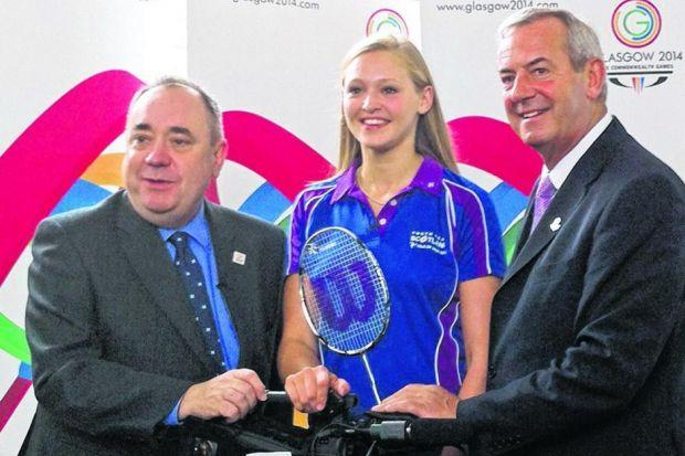 Alex Salmond and  Lord Smith of Kelvin, right, flank Caitlin Pringle, a victim of sporting politics