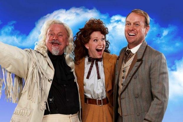 GREAT GUNS: Emma Williams, Jason Donovan and Norman Pace, who plays Buffalo Bill.