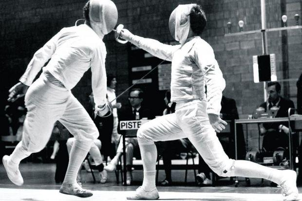 Sandy Leckie  takes on ML Henderson of New Zealand  at the 1970 Games in Edinburgh