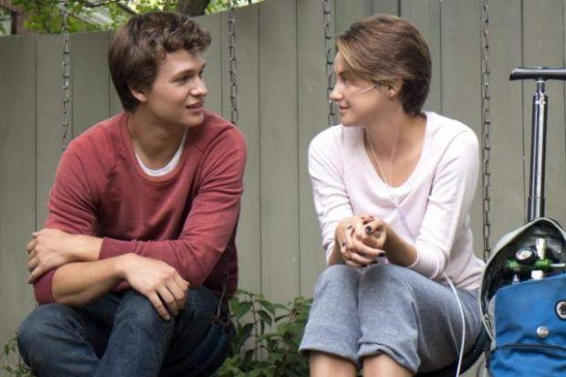 sharing their thoughts: Ansel Elgort and Shailene Woodley star as the young cancer sufferers.
