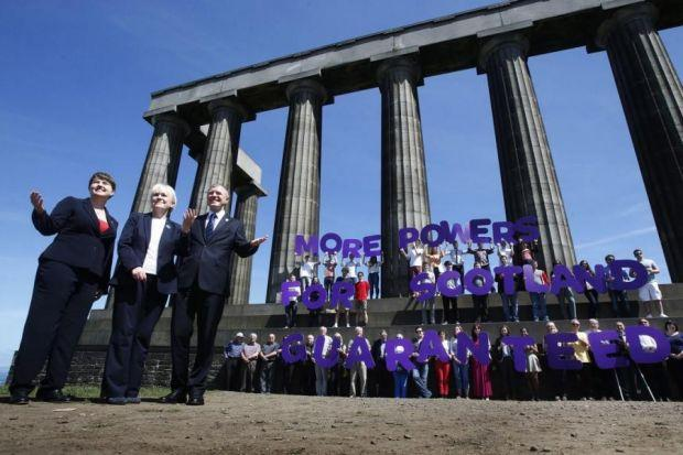 From left, Tory leader Ruth Davidson, Labour's Johann Lamont and Willie Rennie of the Liberal Democrats unveiled their vow for more devolution in the event of a No vote on Edinburgh's Calton Hill last week. Below, Richard Keen QCMain photograph:  Danny La
