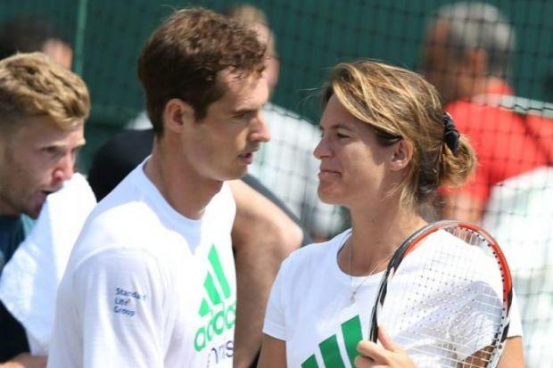 Andy Murray and Amelie Mauresmo during a practice session yesterday