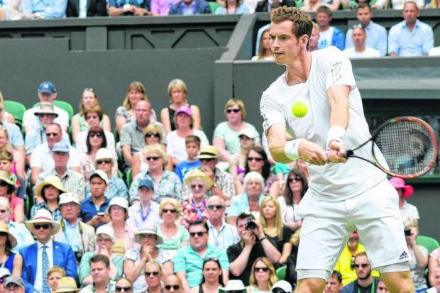 Andy Murray was adept on his backhand yesterday, deploying devilish slice to good effect. Picture: EPA