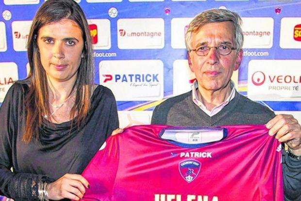 Helena Costa with Claude Michy, the Clermont president, when the appointment was announced