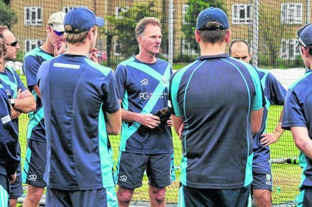 The Scotland cricket squad take instructions from new head coach Grant Bradburn during their final training session before three 50-over encounters against the Netherlands this week at Titwood. Picture: Donald MacLeod