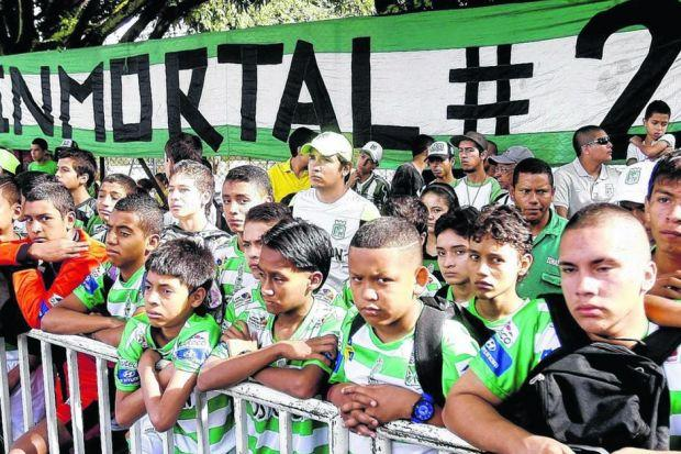 Fans of Andres Escobar's last club side, Atletico Nacional, mark the 20th anniversary of his death. Picture: EPA