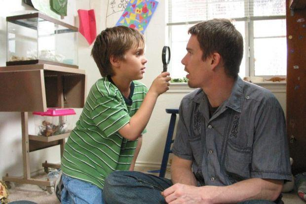 Ethan Hawke with Ellar Coltrane in Boyhood, directed by Richard Linklater