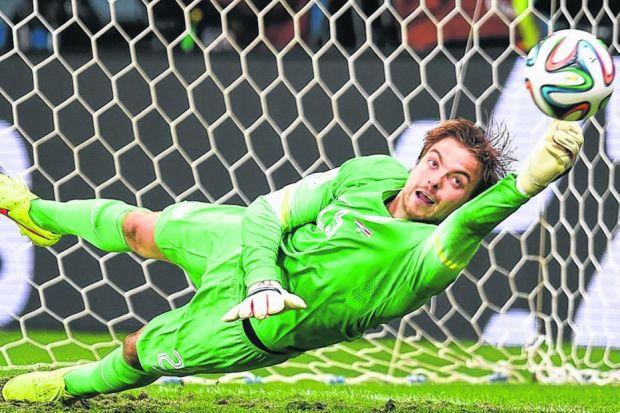 Tim Krul of the Netherlands saves from Michael Umana in Saturday's penalty shoot-out. Picture: Getty Images