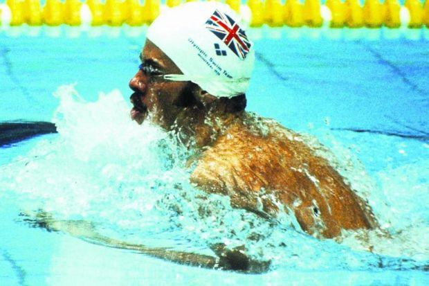 David Wilkie propels himself to victory in the 200 metre breaststroke final in Montreal in 1976, becoming the first British man to win a swimming gold medal in more than half a century. Picture: Tony Duffy/Allsport