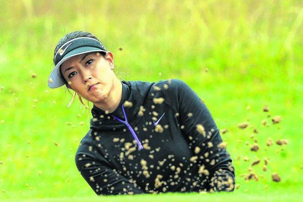 Michelle Wie, the US Women's Open champion, escapes from a bunker during the pro-am at Royal Birkdale. Picture: David Cannon/Getty Images