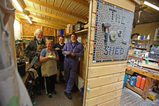 SUPPORT: Tool shedders Bill Ashcroft, Pat Convery, Fred Varney and Bob Smith feel the project helps to keep them busy. Picture: Gordon Terris