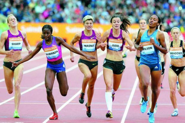 Lynsey Sharp struggles across the line in the women's 800 metres Photograph: PA