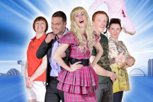 COLOURFUL CAST: From left Margo Fontenberry (played by Rosalind Sydney), Fergus Butler (Jordan Young), Delta Barker (Julie Brown), Sam Macdonald (Gavin Jon Wright), Jan O'Donnell (Julie Wilson Nimmo) and flying at the back is Ross Taggart (Johnny McKnight