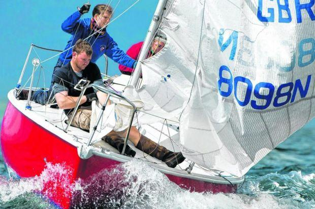 The crew of Serenity battle with the elements in the first of the Firth of Lorn races at the Tunnock's West Highland Week yesterday