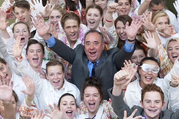 Scotland's First Minister Alex Salmond meets youngsters during a visit to the Scottish Youth Theatre in Glasgow