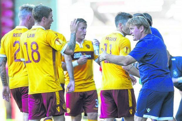 Stuart McCall, the Motherwell manager, gives instructions from the sidelines during his side's 2-2 draw with Stjarnan at Fir Park last Thursday. Picture: SNS