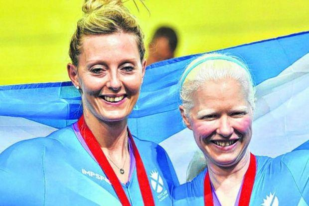 Scotland's Aileen McGlynn, right, and pilot Louise Haston with their medals for the para-sport sprint B tandem. Picture: Jamie Simpson
