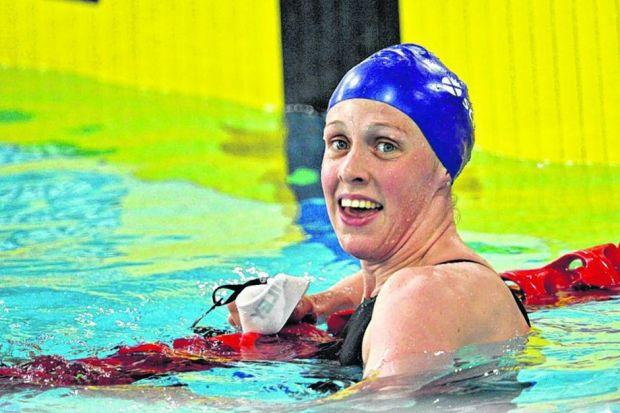 It was another routine day in the pool for Hannah Miley, who won a bronze medal in one event and reached the final in another.  Picture: Jamie Simpson