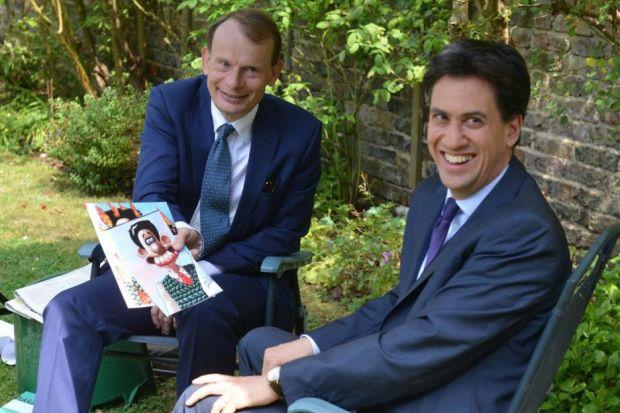 SNap: Andrew Marr discusses public image with Labour leader Mr Miliband, who seems to enjoy his comparison with animated character Wallace. Picture: Getty