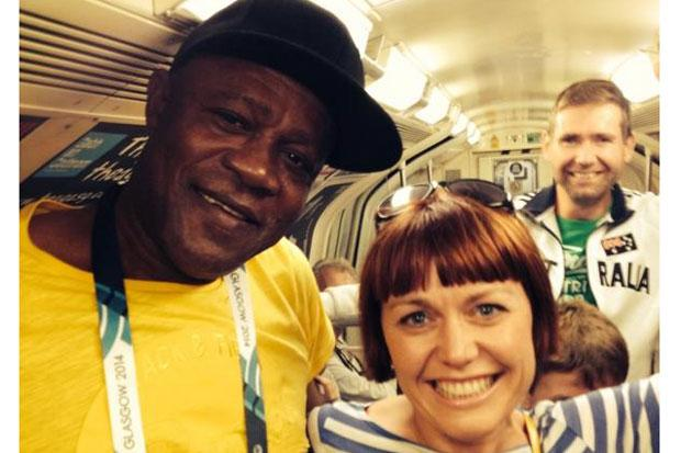 Wellesley Bolt with Usain Bolt fan Cecilia Townley